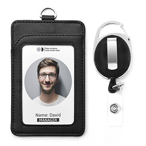 - Retractable Badge Holder, Dream Level Durable PU Badge Holder Bus Card Holder with Retractable Carabiner Reel Clip for Office Company Employee School Student Card Bus Pass Card(1 Pack/2 Pack). (D)