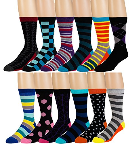 Men's Pattern Dress Funky Fun Colorful Socks 12 Assorted Patterns Size 6-12 (Variation C)