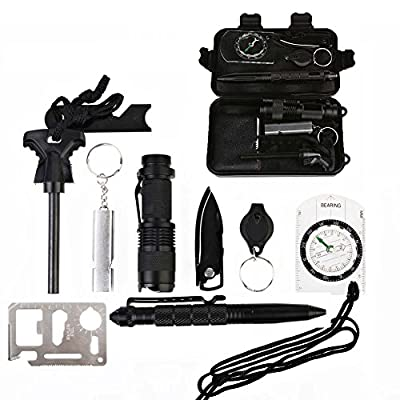 10 In 1 Outdoor Survival Kit, Fredhome Professional First Aid Supplies Emergency Survival Tools with Fire Starter Knife Flashlight Tactical Pen for Camping Hiking Hunting Biking Climbing Traveling from Fredhome