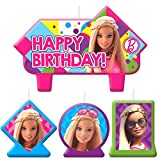 Barbie Sparkle Birthday Candle Set Assorted Size Party Decoration (4 Pack), Multi Color, .
