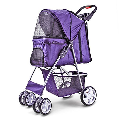Flexzion Pet Stroller Dog Cat Small Animals Carrier Cage 4 Wheels Folding Flexible Easy Walk for Jogger Jogging Travel Up to 30 Pounds with Sun Shade Cup Holder and Mesh Window (Purple)