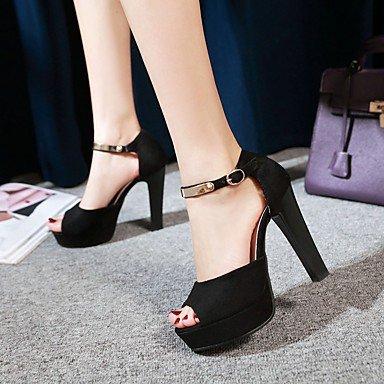 LvYuan Mujer-Tacón Robusto-D'Orsay y Dos Piezas Zapatos del club-Sandalias-Vestido Fiesta y Noche-Semicuero-Negro Rojo Black