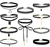FIBO STEEL 10 Pack Lace Choker Necklace for Women Girls Choker Necklace Velvet Adjustable Length