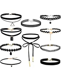 FIBO Steel 1-10PCS Womens Black Velvet Choker Necklace for Girls Lace Choker Tattoo Necklace