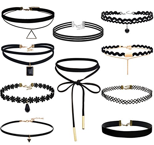 (FIBO STEEL 10 PCS Womens Black Velvet Choker Necklace for Girls Lace Choker Tattoo Necklace)