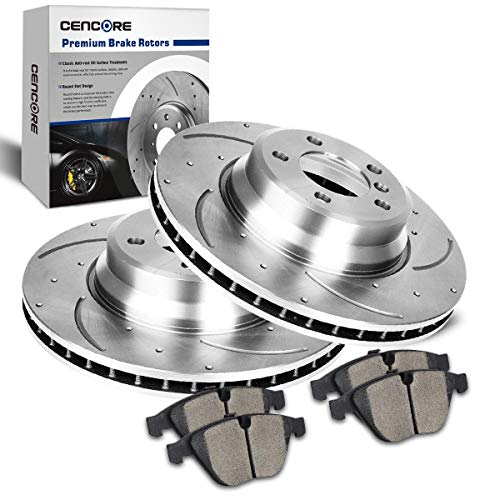 CENCORE Front Left & Right Non-Coated Anti-Rust Brake Disc Kit Cross Drilled & Slotted 2 Brake Rotors Plates & 4 Ceramic Brake Pads Compatible with 2002-2005 BMW 745i 745Li 2003-3/2005 BMW 760i 760Li