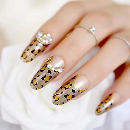 EchiQ - uñas postizas 3D largas redondas doradas con leopardo francés, color marrón y dorado