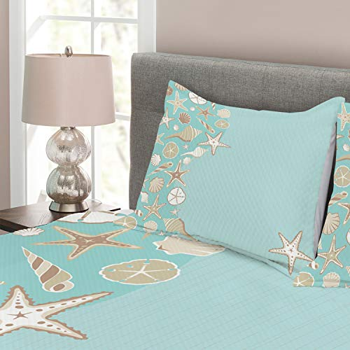 Ambesonne Shell Bedspread, Thin Lines and Various Creative Seashells Beach Party Theme, Decorative Quilted 3 Piece Coverlet Set with 2 Pillow Shams, Queen Size, Seafoam