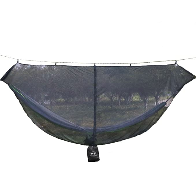 WEHE Hammock Bug Net - 11' Hammock Mosquito Net for 360° Mosquitos Protection, Fits All Camping Hammocks. Compact, Lightweight(11.7oz). Fast Easy Setup. Essential Camping and Survival Gear
