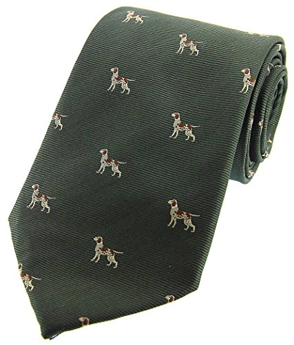 David Van Hagen Mens Pointer Dogs Woven Country Silk Tie - Country Green ()