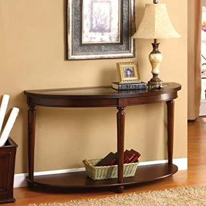 Half Moon Hall Console Table With Glass Top, Open Bottom Shelf, Storage  Space,