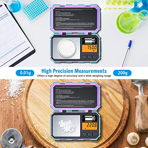 (2020 NEW) Digital Pocket Scale, 200g /0.01g Mini Scale, Highly Accurate Multifunction with Premium Stainless Steel Finish, LCD Backlit Display, 6 Units, Auto Off, Tare (Battery Included)