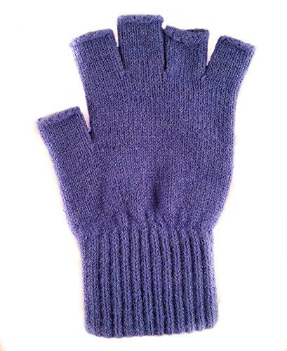 Fingerless Gloves For Men Women Alpaca Driving Gloves (Large, Royal Blue)