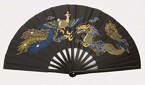 Apint Bamboo Fan Mascot Dragon Phoenix Design Chinese Kung Fu Martial Tai Chi Black
