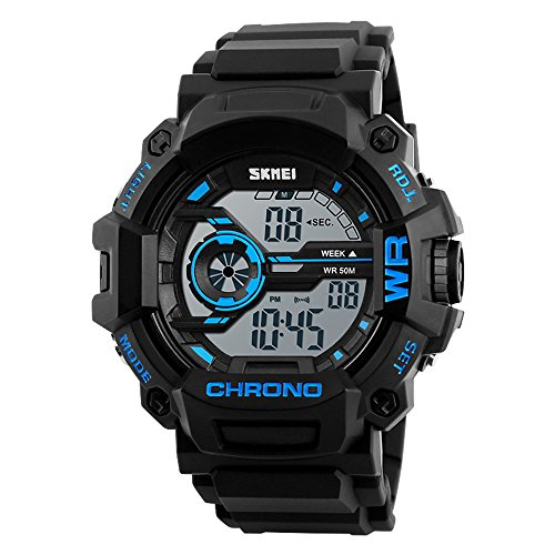 Mens Digital Watch Waterproof Military Sports Watch with Alarm LED Backlight -