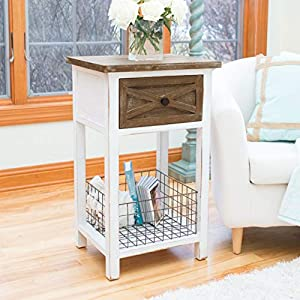 "FirsTime & Co. Ashgrove Farmhouse Accent Table, 31.5"" H x 19"" W x 16"" D, Aged White/Weathered Brown"