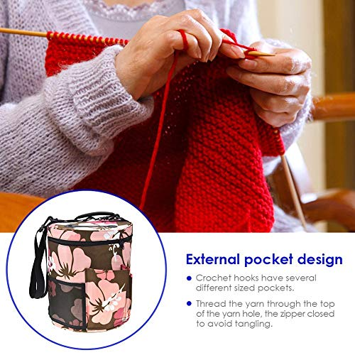 Woolen Yarn Storage Bag Portable Tote Light and Easy to Carry Pockets Accessories Organizer organizing with Shoulder Strap Home as Crossbody Print Large-Sized Cylinder by sweetyhomes (Image #8)