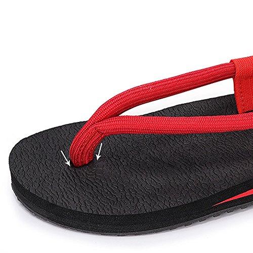 Dame Sandalen Strandschuhe Sexy Trendy Persönlichkeit Freizeit Im Freien Flach Dicke Sohlen TPR Verschleißfest Schwarz Rot ( Farbe : Schwarz , größe : EU36/UK4/CN36 ) Rot