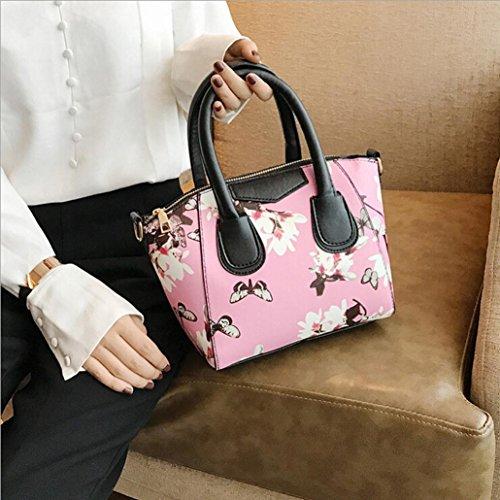 LHWY Bolso De La Mujer PequeñA Bolsa De Flores Mariposa Impresa Bandolera Rosa
