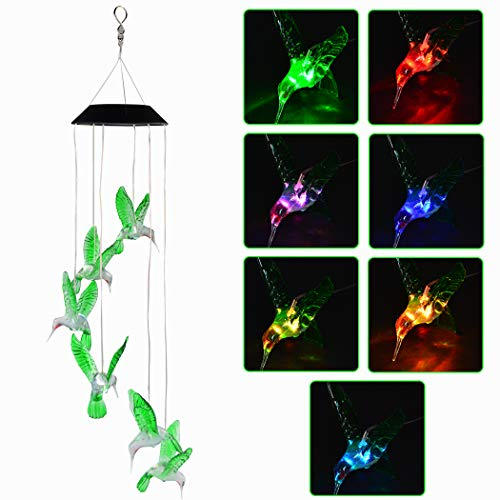 (SUMERSHA Hummingbird Wind Chime, Color Changing LED Solar Mobile Bird Wind Chimes Hanging Outdoor Solar Lights for Home Party Yard Garden Night)