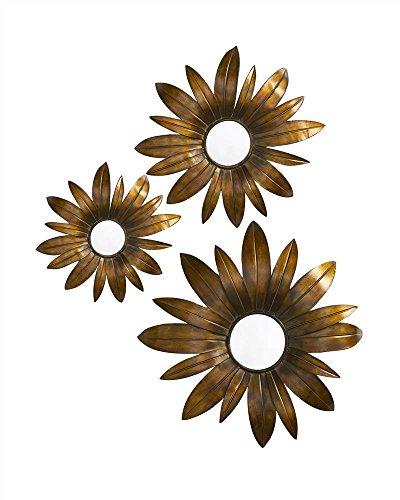 Howard Elliott Collection Fleur 3-D Antique Copper & Gold Convex Mirrors (Set of 3)