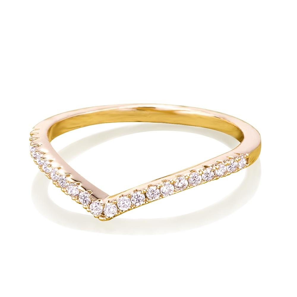 Samie Collection 0.22ctw CZ Chevron Wedding Band Stackable Rings Rose Gold, Gold, Rhodium Plating, 1.5mm