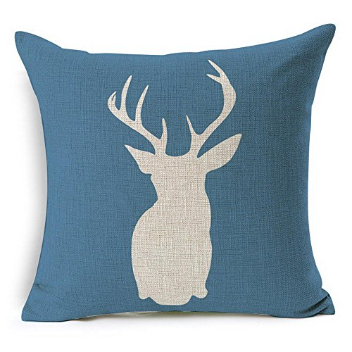 HT&PJ Decorative Cotton Linen Square Throw Pillow Case Cushion Cover Blue Background Dear Design 18 x 18 Inches ...