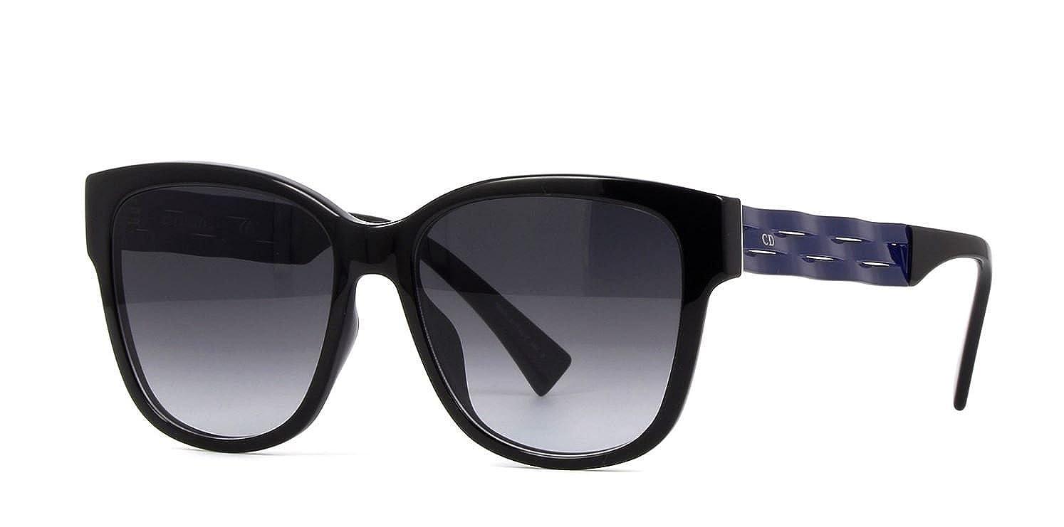 7aad729b1ca9 Amazon.com  New Christian Dior Ribbon 1N UGO9O Black and Blue Grey Gradient  Women s Sunglasses  Clothing