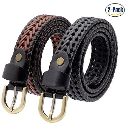 Set of 2 Women's Vintage Genuine Cowhide Leather Braided Belt Handmade Narrow (Braided Jean Belt)