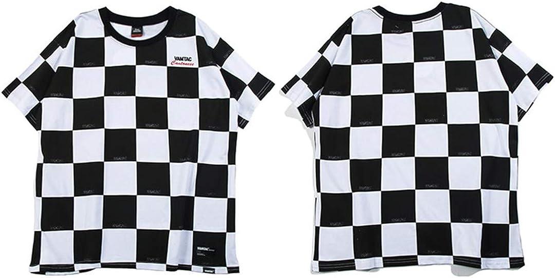 Hip Hop Streetwear Camisas Retro Hombres Verano Harajuku A Cuadros Tops de algodón Camisetas Negro Blanco Rojo: Amazon.es: Ropa y accesorios