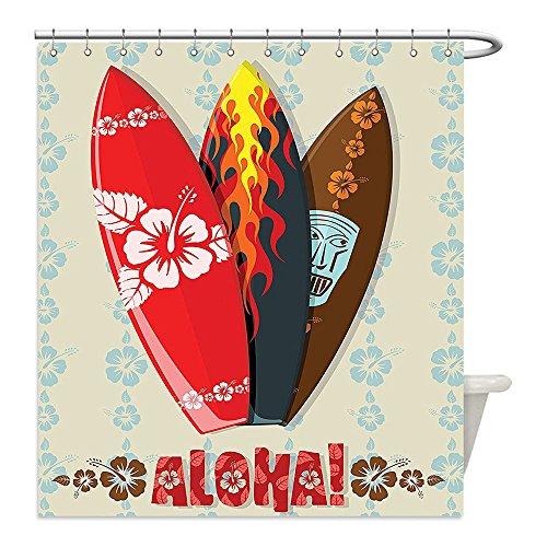 Hawaii Aloha Flowers Tiki Bar (Liguo88 Custom Waterproof Bathroom Shower Curtain Polyester Hawaiian Gifts Aloha Hawaii Surfboards Tiki Tropical Flowers Orchids Surf Beach Volcano Indian Feathers Colorful Decor Beige Red Brown Bla)