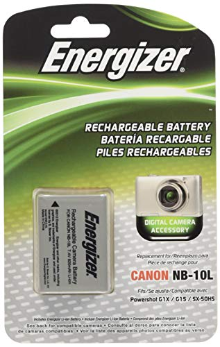 Energizer ENB-C10L Digital Replacement Battery NB-10L for Canon G1X, G15, SX-40 and SX-50 (Black) ()
