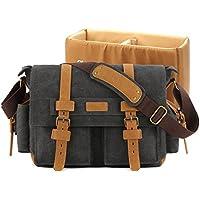 Plambag Canvas Camera Bag DSLR SLR Shoulder Messenger Bag(Dark Gray)