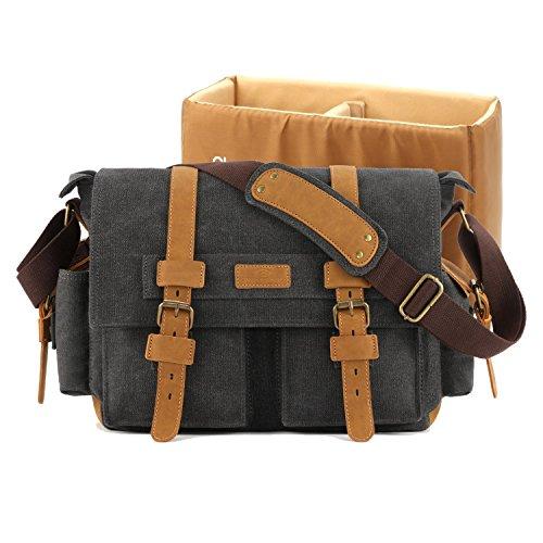 Plambag DSLR Camera Bag, Canvas SLR Messenger Shoulder Bag Dark Gray ()