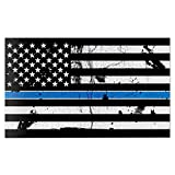 Red Hound Auto American Flag Distressed Thin Blue Line Wall Graphic Extra Large Removable 2 Feet Wide 24 Inch Premium Made in USA Vinyl Peel and Stick Decal Sticker