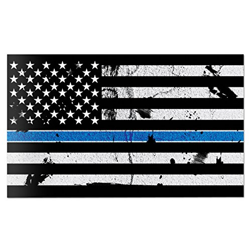 Red Hound Auto American Flag Distressed Thin Blue Line Wall Graphic Extra Large Removable 2 Feet Wide 24 Inch Premium Made in USA Vinyl Peel and Stick Decal Sticker by Red Hound Auto