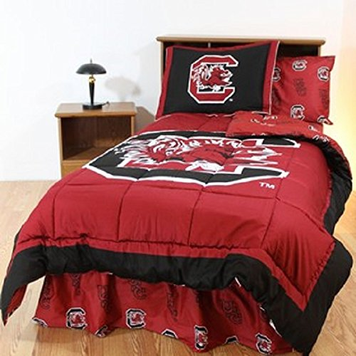 South Carolina Gamecocks (5) Piece QUEEN Size Reversible Comforter Set - Set Includes: (1) QUEEN Size Comforter, (2) Shams and (2) Standard Size Solid Color Pillowcases