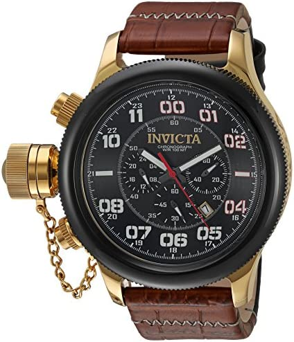 Invicta Men s Russian Diver Stainless Steel Quartz Watch with Leather-Calfskin Strap, Brown, 26 Model 22291