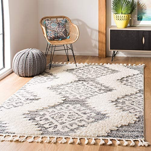 Safavieh Moroccan Tassel Shag Collection MTS652F-1115 2-inch Thick Area Rug 11' x 15' Ivory/Grey
