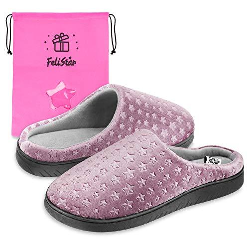 Womens Slippers,Winter Slip-On House Indoor Slippers for Women, Memory Foam, Fluffy,Soft & Comfortable Slippers (US 8-9, Purple)