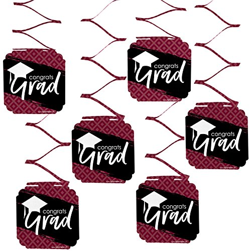 Big Dot of Happiness Maroon Grad - Best is Yet to Come - Burgundy Graduation Party Hanging Decorations - 6 Count