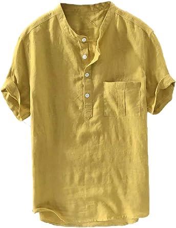 Camisa de lino para hombre de manga corta, camisa de verano, camisa de pescador de algodón, ajuste normal, ocio, informal, cuello alto con bolsillos: Amazon.es: Ropa y accesorios