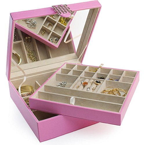 Jewelry box 28 section classic jewelry organizer with for Girls large jewelry box