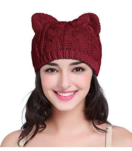V28 Hand Made Fashion Women Boy Girl Crochet Knit Winter Cat Deer Ear Caps Hats (Medium, Cat Ear Wine)