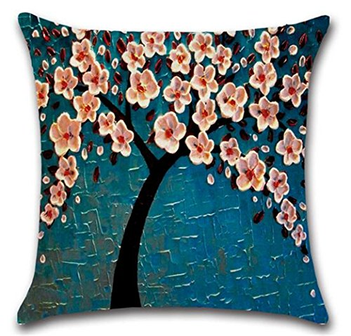 KAMA Oil Painting Black Large Tree flowers Cotton Linen Throw Pillow Case Cushion Cover Home Sofa Decorative 18 X 18 Inch (pink flowers)