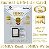 2-Pack 64GB Micro SDXC U3 Card Plus SD Adapter. Amplim Pro Extreme Class 10 UHS-I MicroSDXC 95MB s Read - 90MB s Write. Ultra High Speed HD UHD 4K Video. Internal External MicroSD Flash Memory Storage