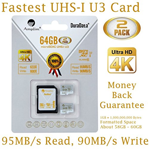 2X 64GB Micro SDXC U3 Card Plus SD Adapter Pack. Amplim Pro Extreme Class 10 UHS-I MicroSDXC 95MB/s Read, 90MB/s Write. Ultra High Speed HD UHD 4K Video. Internal/External MicroSD Flash Memory Storage