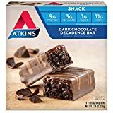 #3: Atkins Snack Bar, Dark Chocolate Decadence, 9g Protein, 3g Net Carbs, 1g Sugar, 7.76-Ounce, 5 Bars (Packaging May Vary)