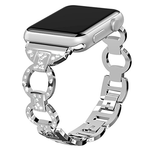 Valband for Apple Watch Band 38mm 42mm, Stainless Steel Bling Wristband Replacement Strap for Apple Watch Series 3 Series 2 Series 1 Nike+ Sport Edition (38mm, Silver)