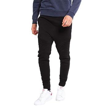 LuckyGirls Pantalón Chándal Hombre Originales Plisado Cintura Elástica  Pantalones Jogger Ropa Deportiva Pants (Negro e868483fd9c4